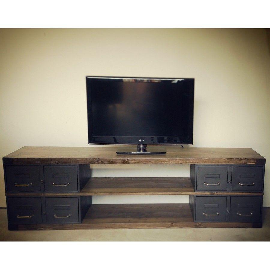 meuble tv en acier et bois industriel