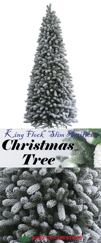 King Flock™ Slim Artificial Christmas Tree | Pinos de ...
