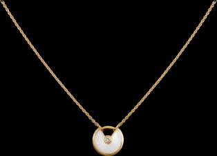 Collier Amulette de Cartier XS Or jaune, diamants, nacre blanche