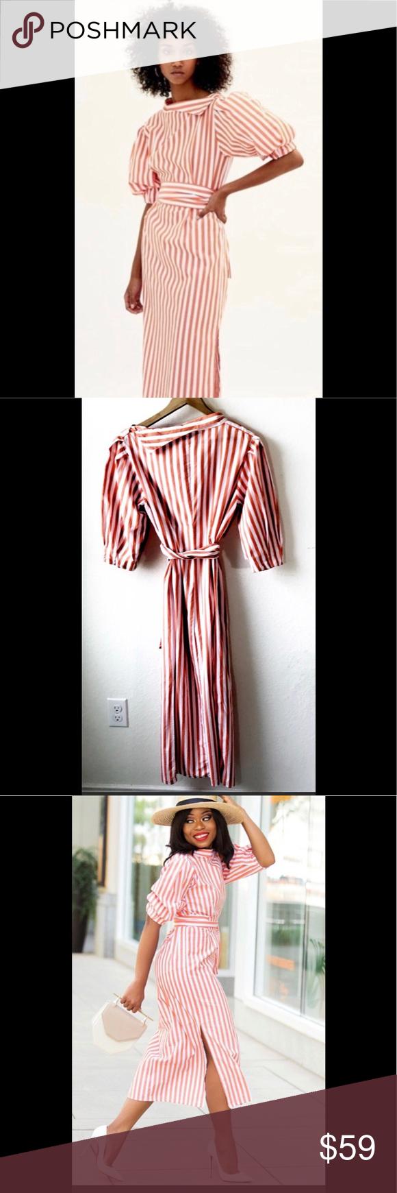"dc10807e NWT Zara ""creamsicle midi dress NWT midi dress from Zara Size XS Orange and  white"