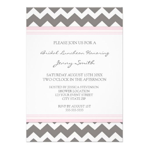 Pink Gray Chevron Bridal Lunch Invitation Cards today price drop and - best of invitation cards for wedding price