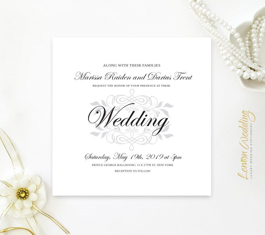 Classy wedding invitation square | Silver, black and white wedding ...