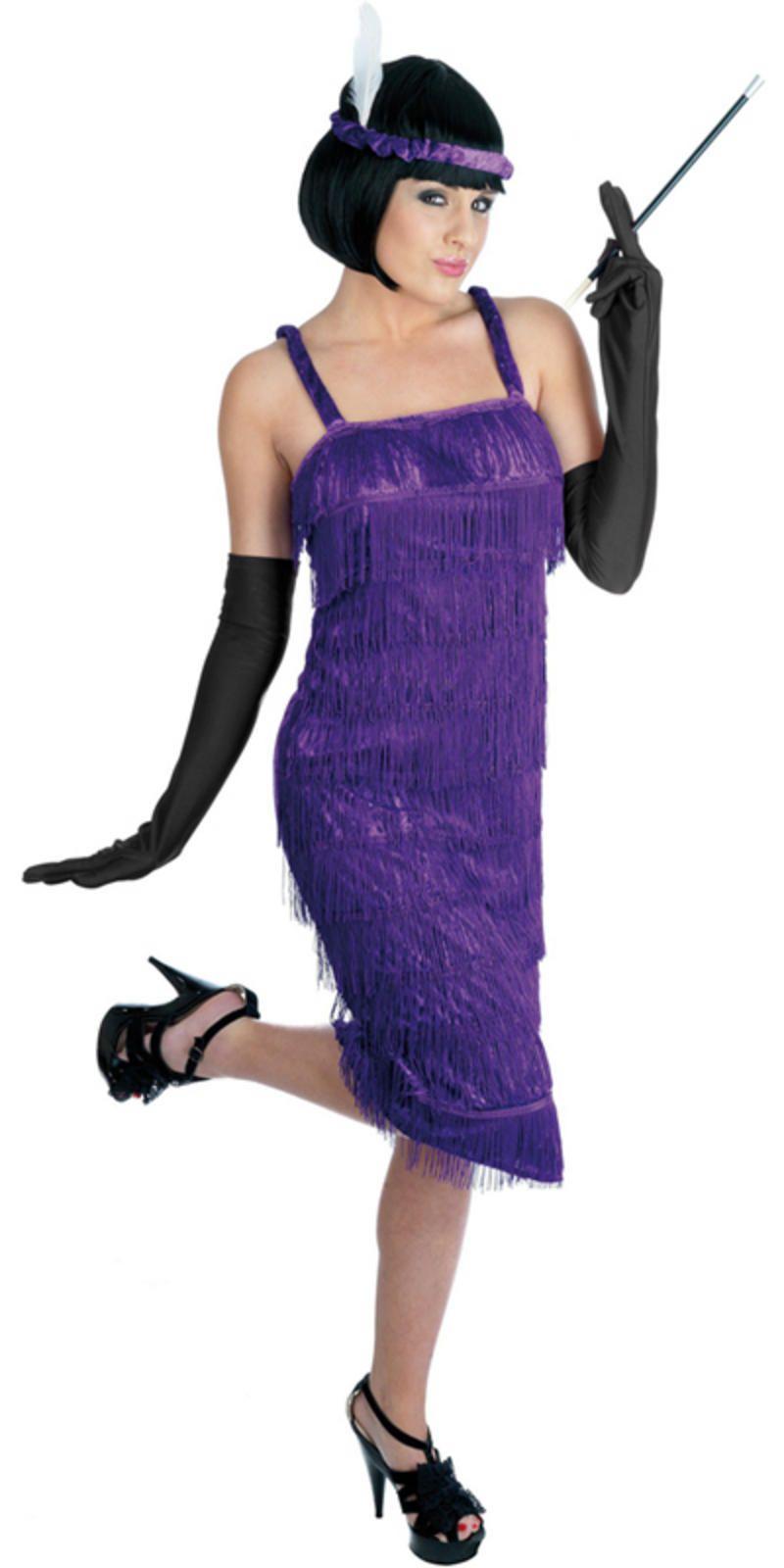 PURPLE Ladies Roaring 1920\'s Flapper Dress Chicago Jazz Gangster ...