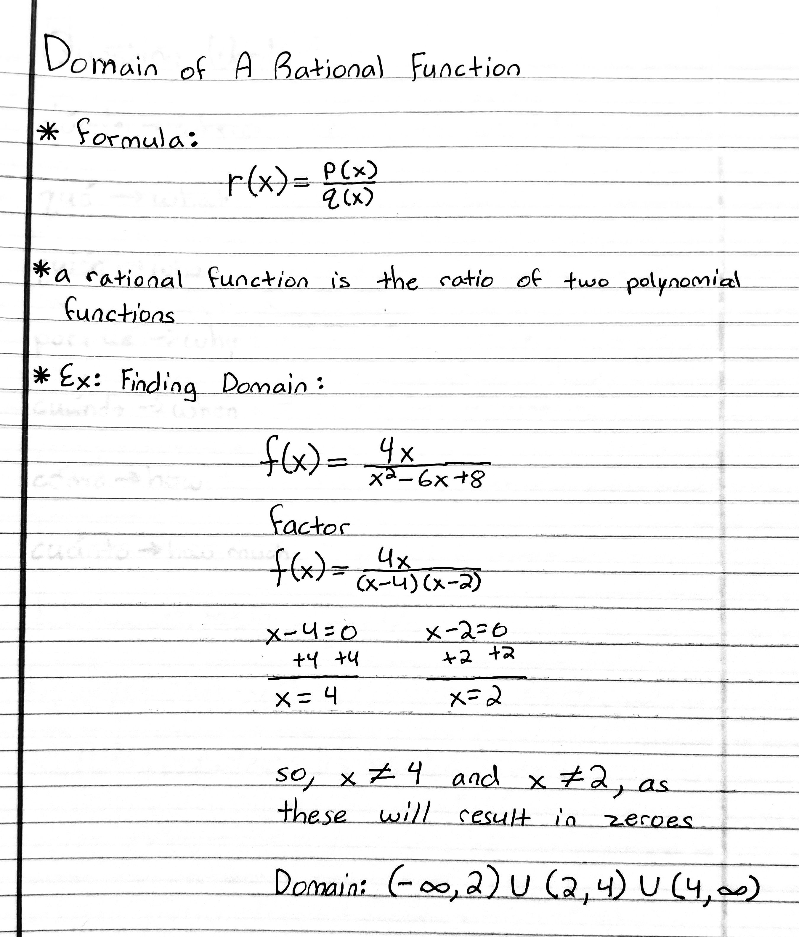 Domain Of A Rational Function Rational Function Differential Calculus Calculus