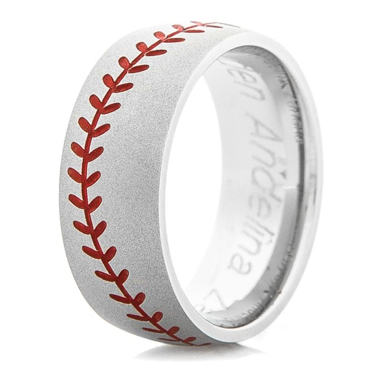 Men S Gunmetal Baseball Stitch Ring With Color Stitching Sports Wedding Ring Baseball Wedding Ring Baseball Wedding