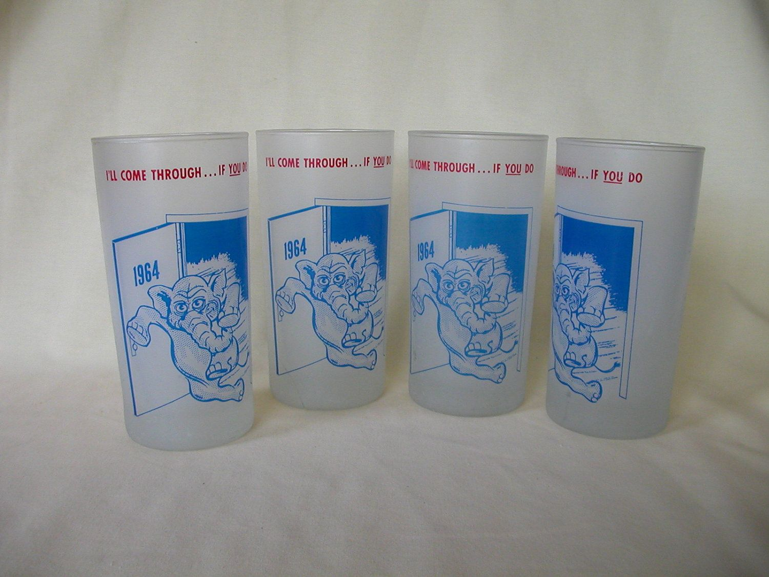1964 Republican Elephant - Set of 4 Drinking Glasses.
