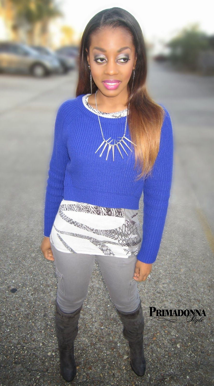 Forever 21 bold high low royal blue cropped sweater kirna zabete ...