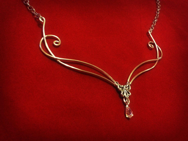 celtic jewelry antique necklace elfic jewelry Art nouveau gold necklace medieval necklace handmade celtic gift celtic gold necklace