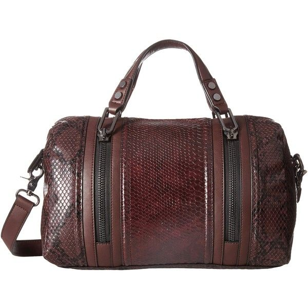 French Connection Nora Satchel (Biker Berry Snake PU) Satchel Handbags ($48) ❤ liked on Polyvore featuring bags, handbags, brown, brown satchel purse, french connection handbags, satchel handbags, red handbags and satchel purses
