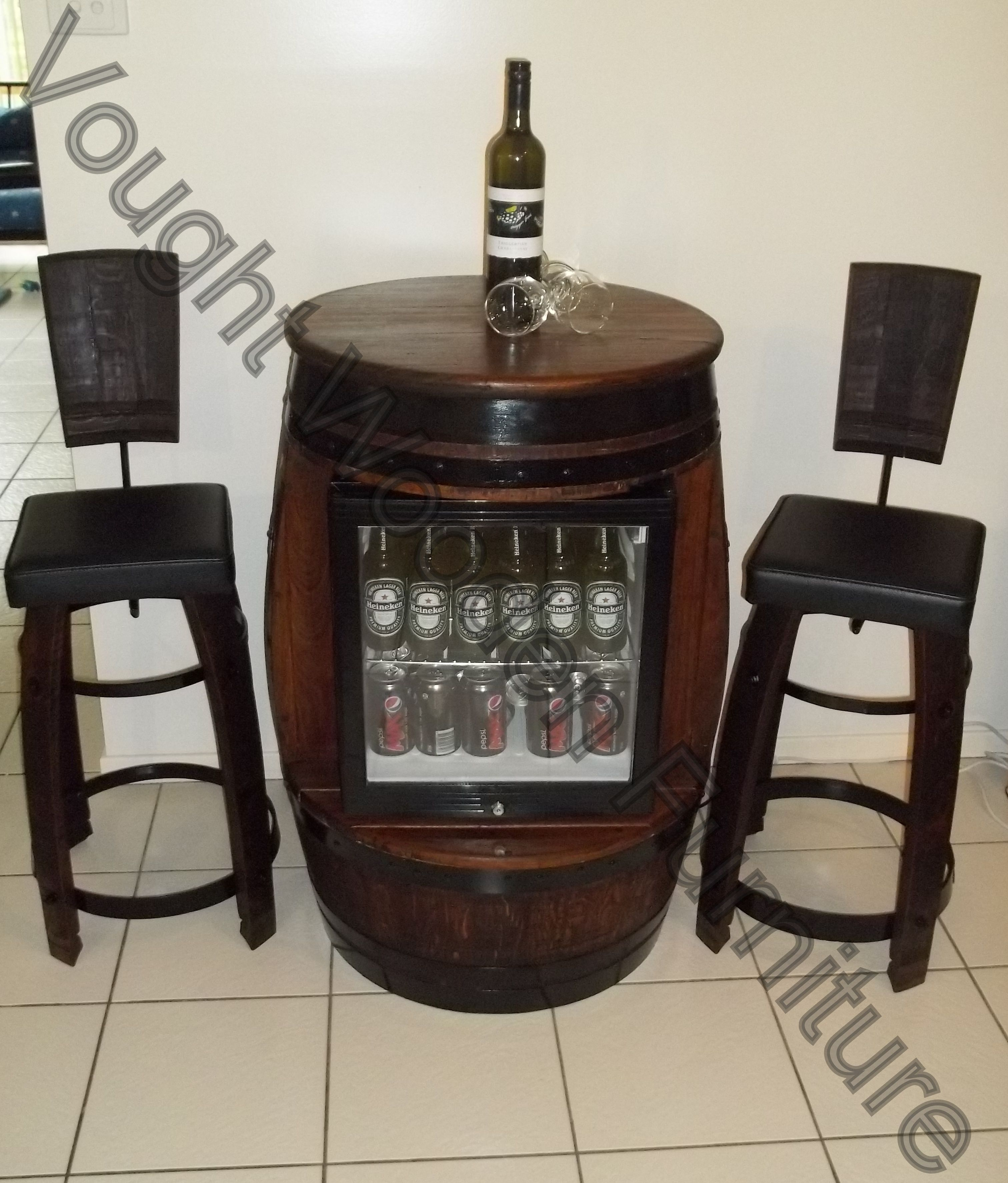 Wine Barrel Bar Table With A Built In Glass Door Bar