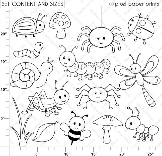 Cute Bugs Digital Stamps Easy Drawings Coloring Pages
