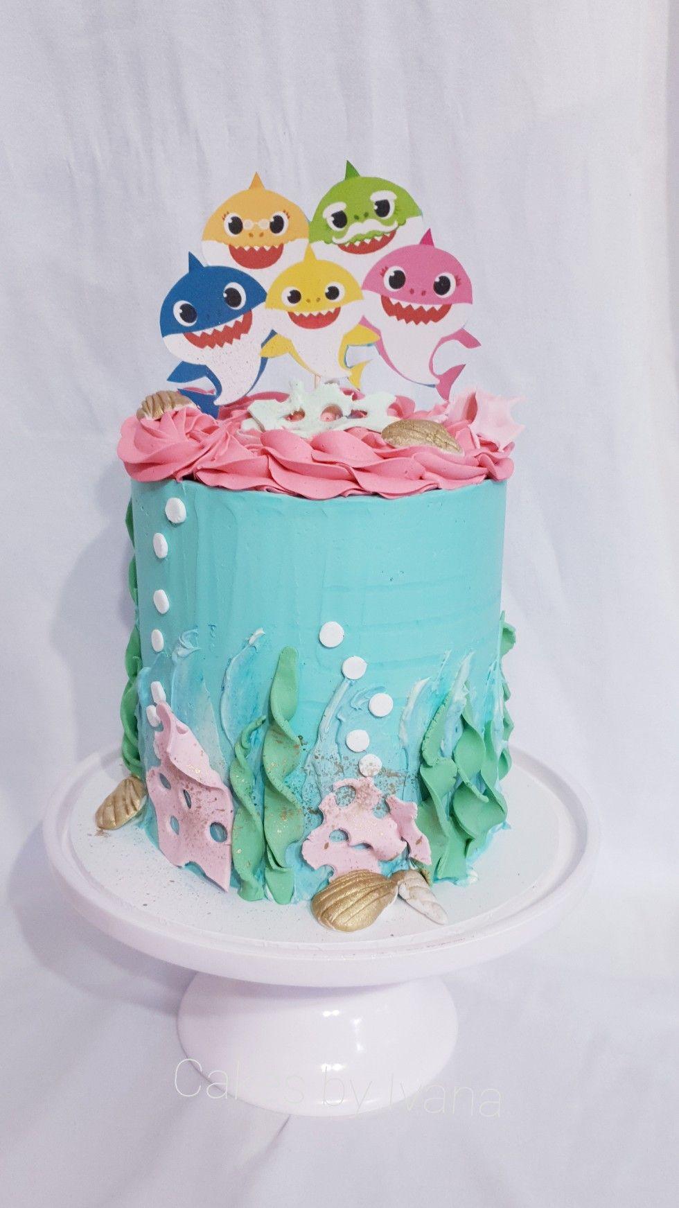 Baby shark themed birthday cake kuchen ideen