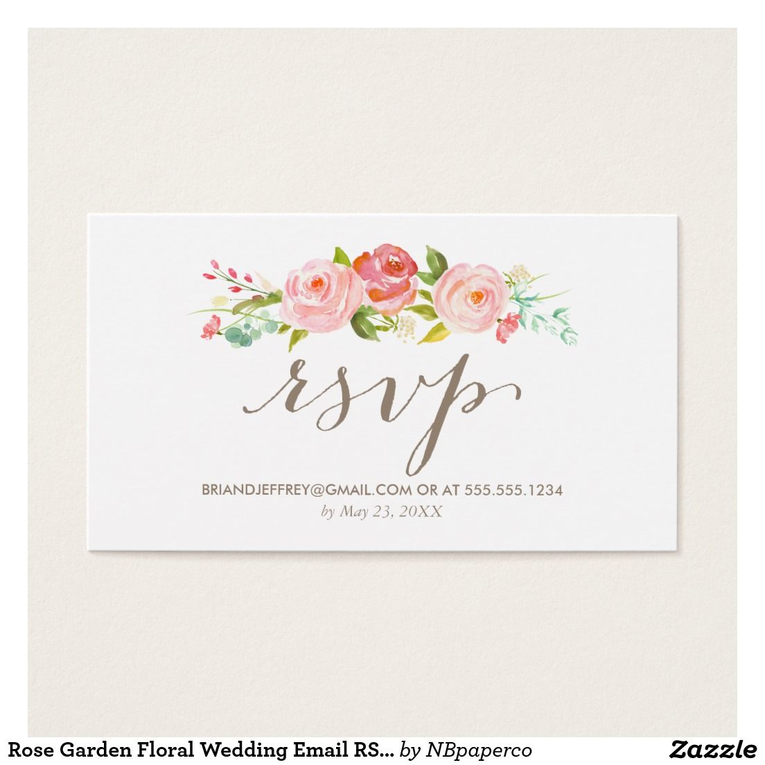 Fun Wedding Rsvp Card Wording: Rose Garden Floral Wedding Email RSVP Enclosure Card