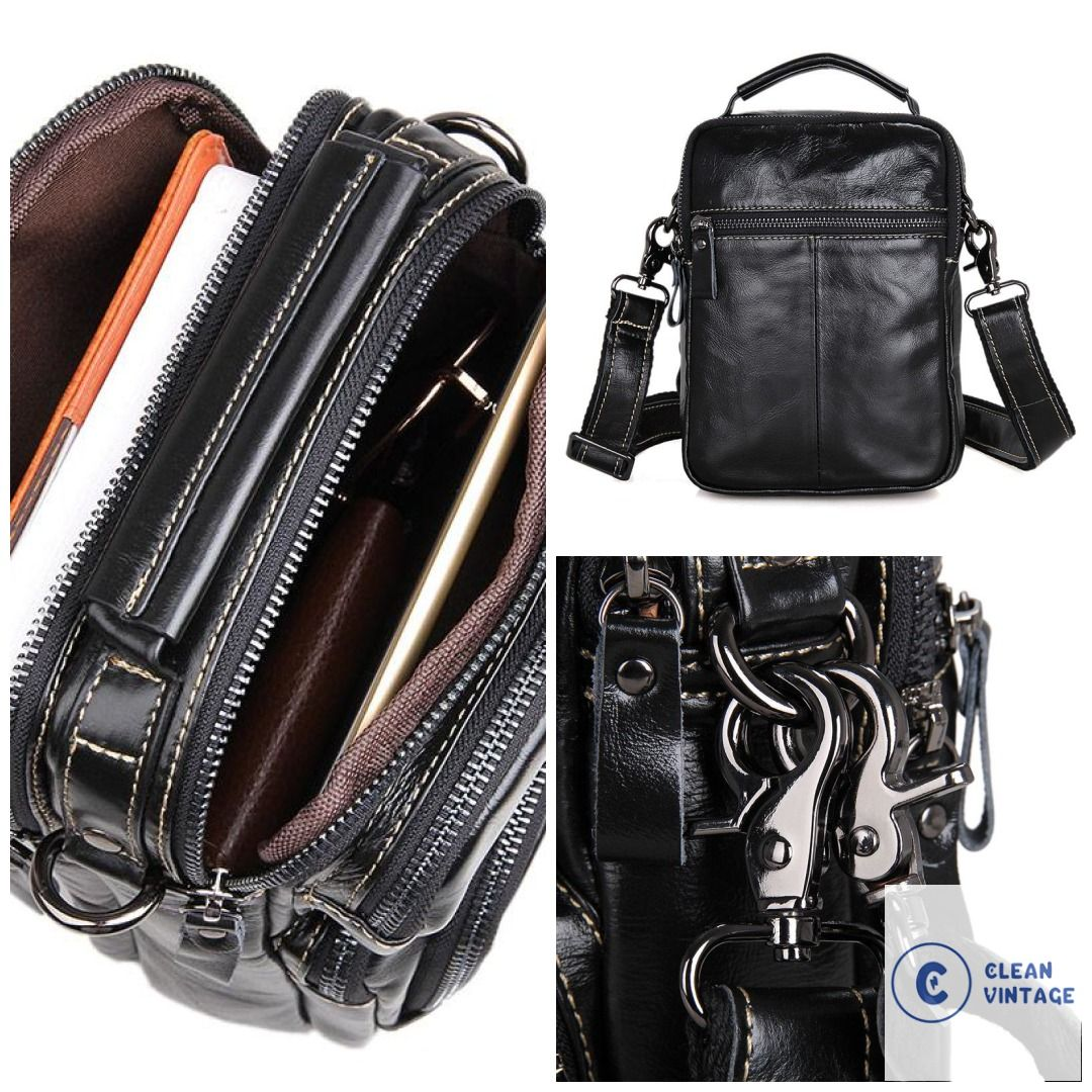 Clean vintage black leather crossbody purse handbag sling