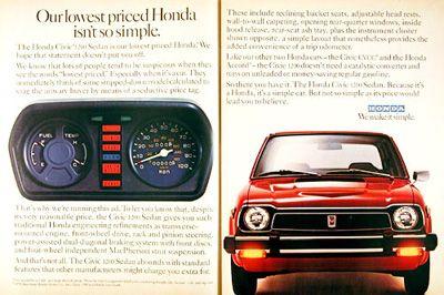 1978 Honda Civic 1200 Sedan Classic Vintage Print Ad Honda Civic Honda Japan Cars