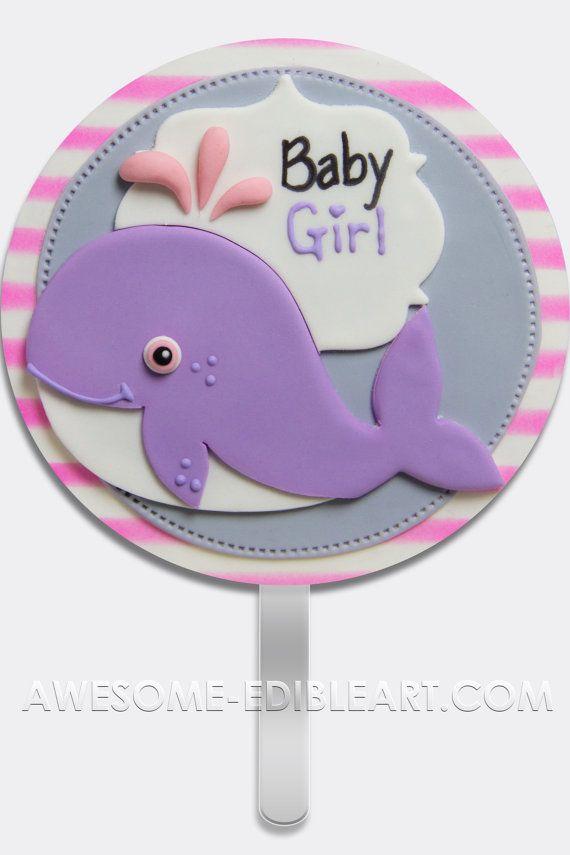 Adorno de torta de pastillaje (fondant): Bebé niña ballena