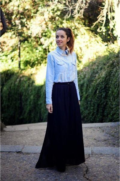 872062fb3115 black long skirt Zara skirt - sky blue denim shirt choiescom shirt ...