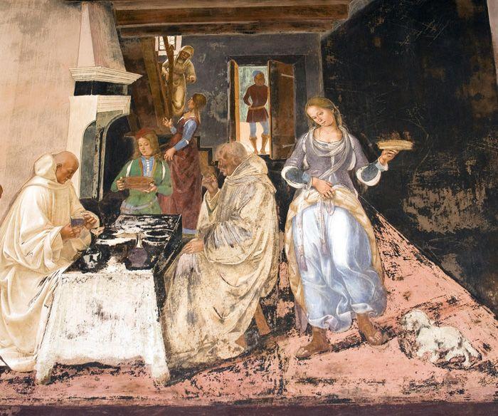 Luca Signorelli, Come Benedetto dice alli monaci dove e quando avevano mangiato fuori dal monastero (dettaglio), Chiostro Grande dell'Abbazia di Monte Oliveto Maggiore 1497 - 1498
