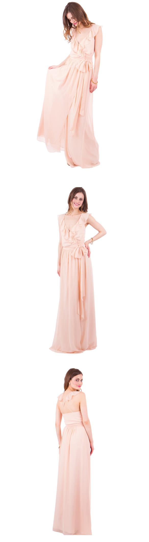 Flutter sleeves v neck alineprincess long peach chiffon bridesmaid