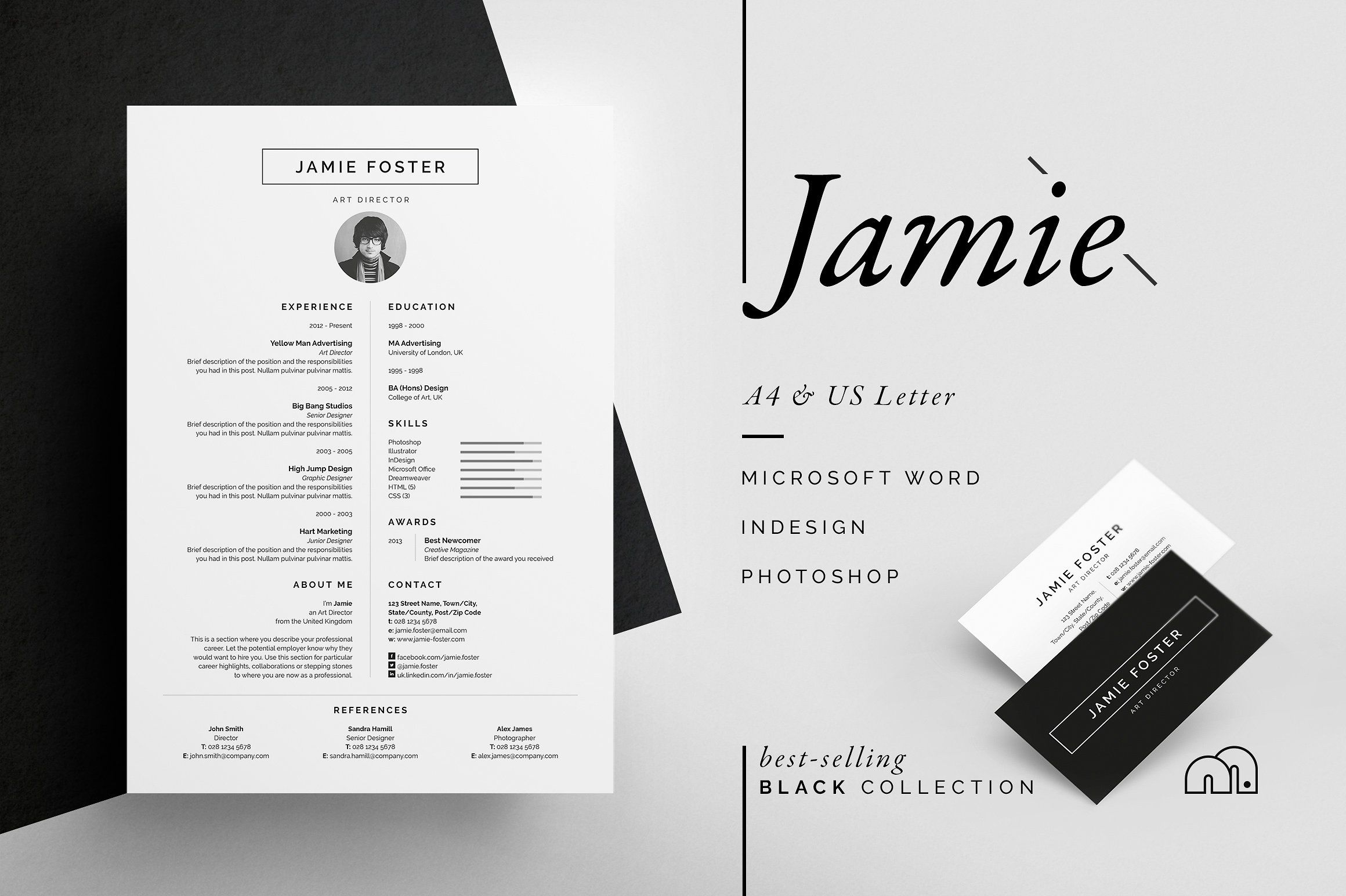 ResumeCv  Jamie By Bilmaw Creative On Creativemarket