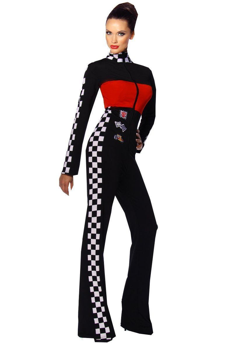 4d3754ba3a7299 Beautys Love Racing Overall Damen schwarz-rot-weiß M-L sexy Einteiler eng