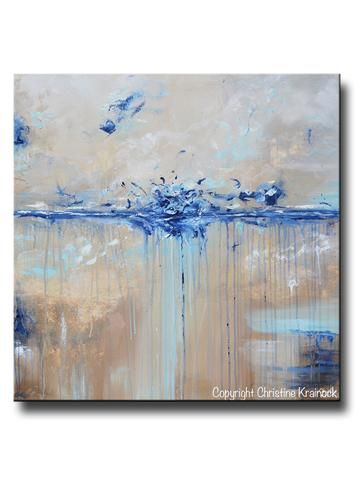 ORIGINAL Art Abstract Painting Navy Blue White Brown Textured ...
