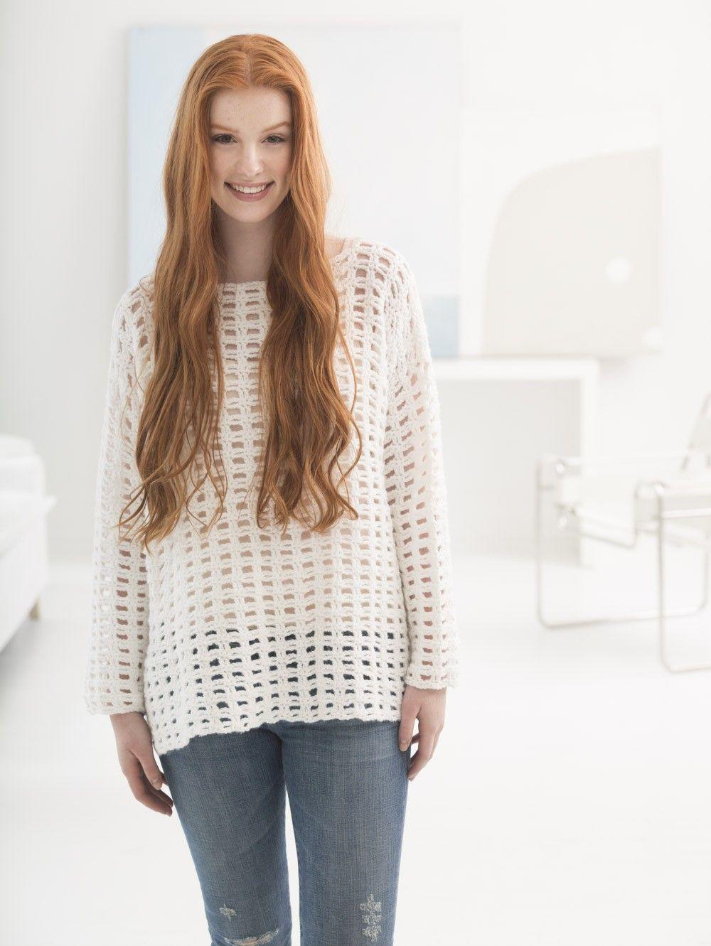 Easy Mesh Pullover (Crochet) - Lion Brand Yarn | Tejidos | Pinterest ...