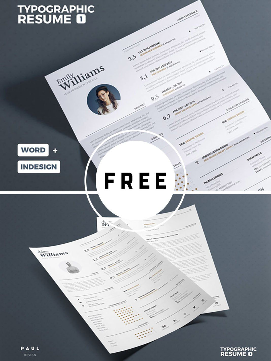 Free cv print template download a4 us letter formats