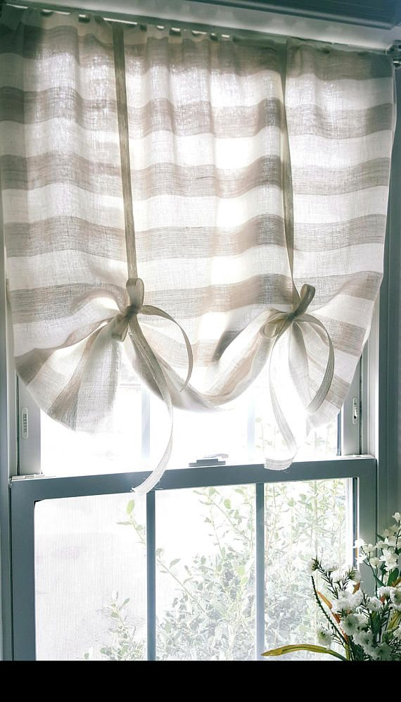 Tie up curtains, Striped Linen Curtains, Kitchen Curtains ...