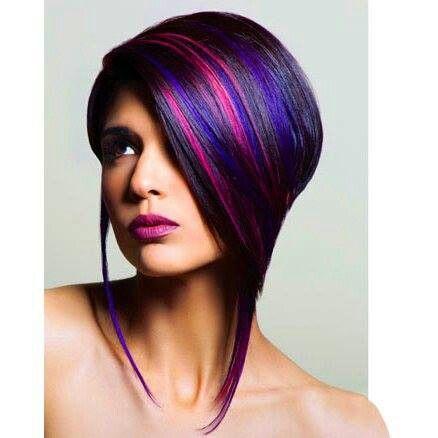 Beautiful Blue Purple And Fuchsia Highlights In Black Hair