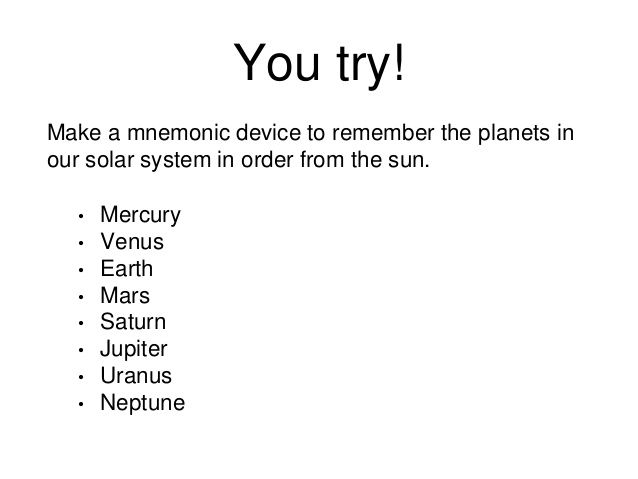 Make A Mnemonic Device To Remember The Planets In Our Solar System