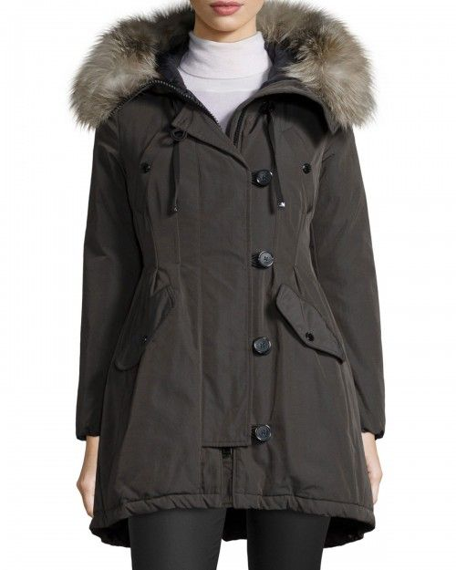 2c5da963c Moncler Arriette Fur Trim Puffer Coat 5 X Green | Clothing | Women's ...