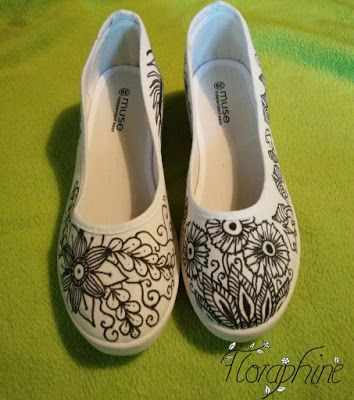 Floraphine's Creative Madness: Tutorial Zentangle Shoes