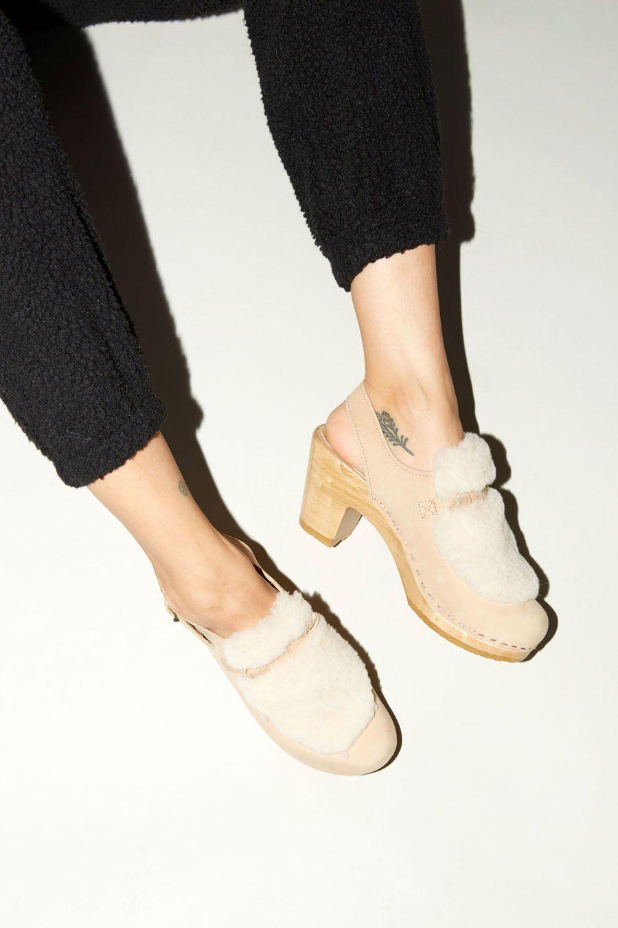 fb8f0b6435259 No.6 Fur Slingback Clog on High Heel in Bone/Cream   Products ...