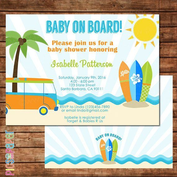 Baby On Board Surf Theme Shower Invitation Beach Surfboards