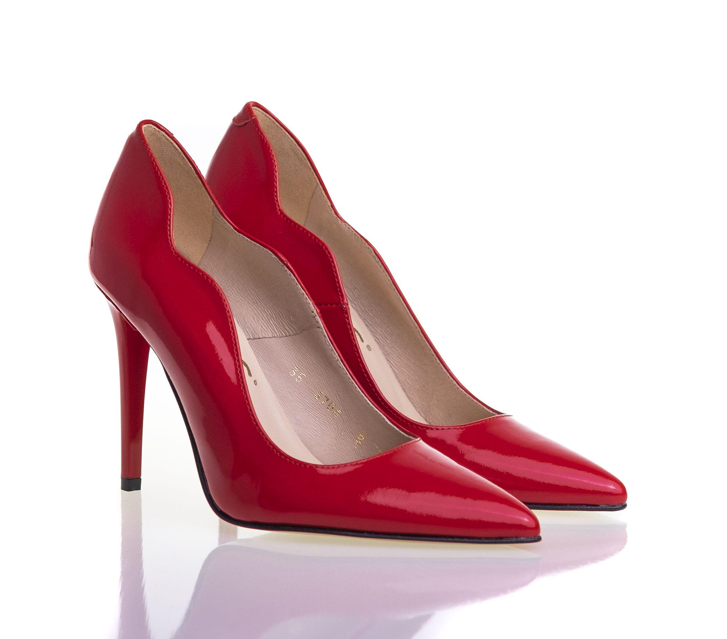 Czerwone Szpilki Heels Peep Toe Shoes