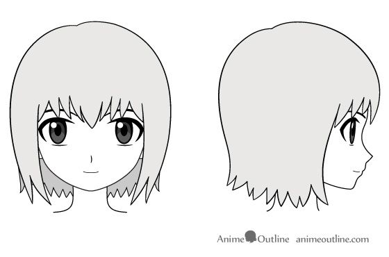 Anime girl head and face drawing