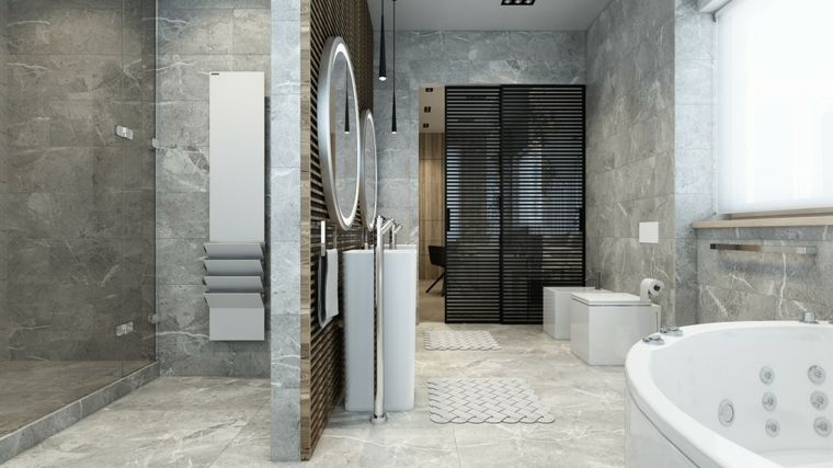 Bagno Moderno Con Vasca Idromassaggio.Bagno Moderno Con Doccia Freestanding Pareti Rivestite In