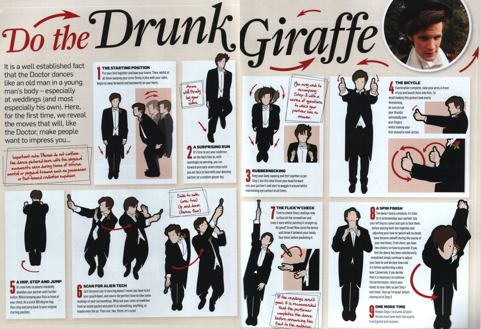 """Dr Who  Do The Drunk Giraffe  Dance Like Eleven, better known as """"The Drunk Giraffe""""!!!! This would make an awesome 2nd dance at a wedding. XD  ----www. Etsy.com/Shop/ChrisHerndonArt Original Twin Peaks, Dr Who, werewolves, curse of werepug, dog,were pug, werewolf lon chaney, creature from black lagoon, frankensteins bride, monsters, ORININAL ARTWORK GIFTS PERFECT PRESENT GIFT TO BUY Christopher Herndon February 2015"""