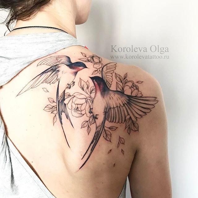 Vogel Tattoo Schwalben Tattoos Tattoo Schulter Frau Rosen