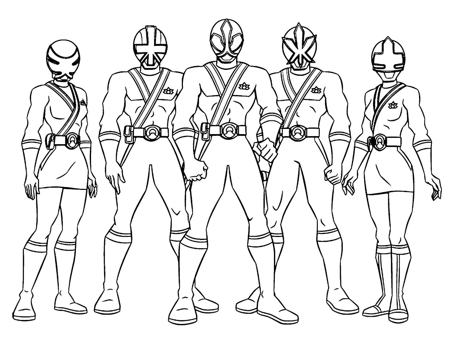 Free online coloring pages of power rangers - Coloring Power Rangers Poses A Team More