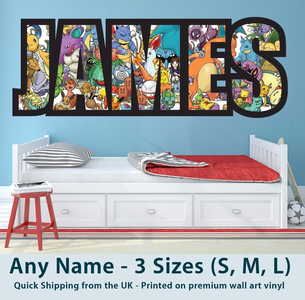 Details About Childrens Name Wall Stickers Art Personalised Pokemon For Boys Girls Bedroom Diy Home Decor For Teens Name Wall Stickers Boy Girl Bedroom