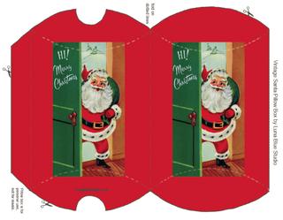 Two Christmas Gift Box Printables Santa And Reindeer Free Christmas Printables Christmas Cards Handmade Pillow Box
