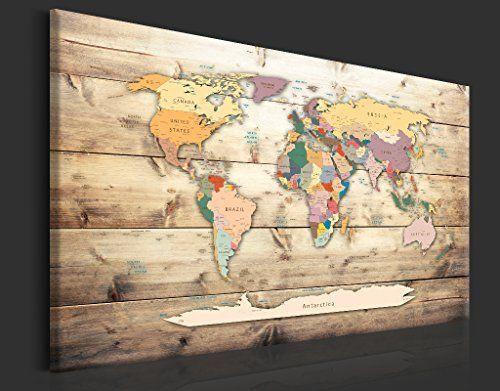 Quadro moderno MAPPAMONDO VINTAGE 60 Arredamento Arte Arredo Casa Stampa su tela