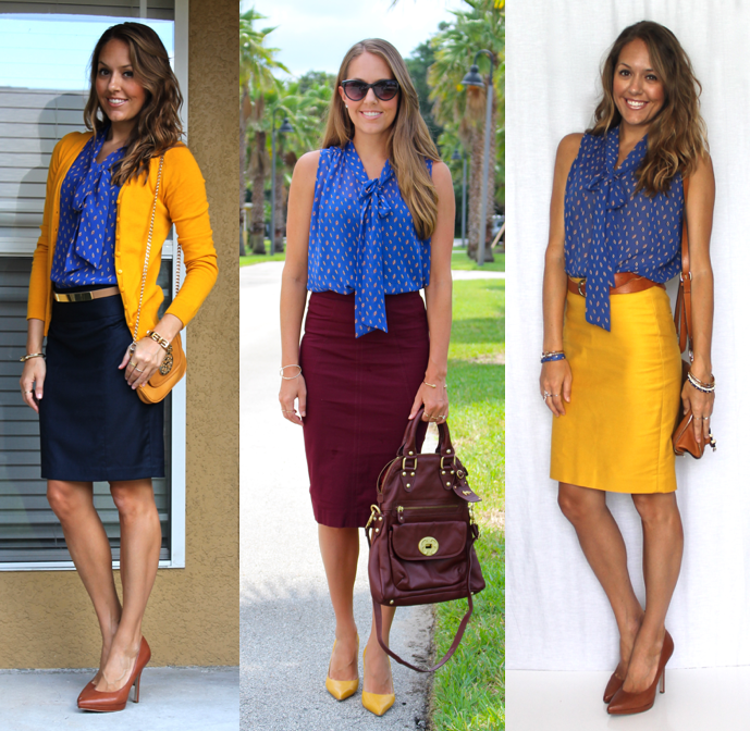 Blue, burgundy and mustard outfits