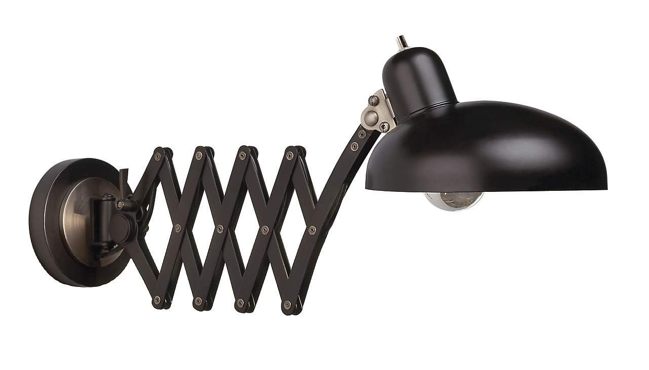 scissor arm pharmacy plug-in wall light.