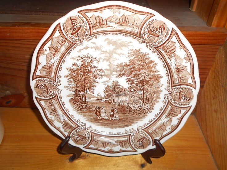Brown Transferware - J G Meakin - Dinner Plate - 10 inch - English Transferware - Ironstone - Americana Style House & british dinner plates | Brown Transferware - J G Meakin - Dinner ...