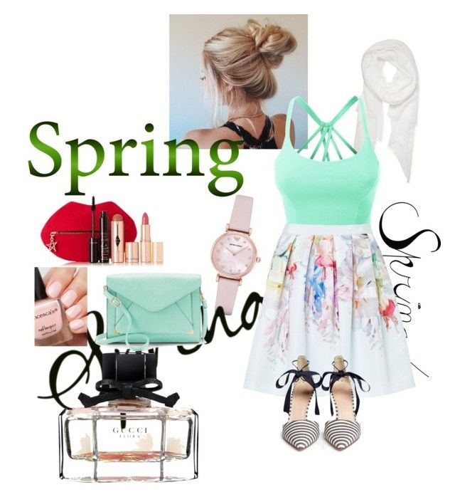"""""""spring"""" by jeoni-camero-bocalbos ❤ liked on Polyvore featuring Emporio Armani, Calvin Klein, LE3NO, Ted Baker, Apt. 9, J.Crew, Charlotte Tilbury and Gucci"""