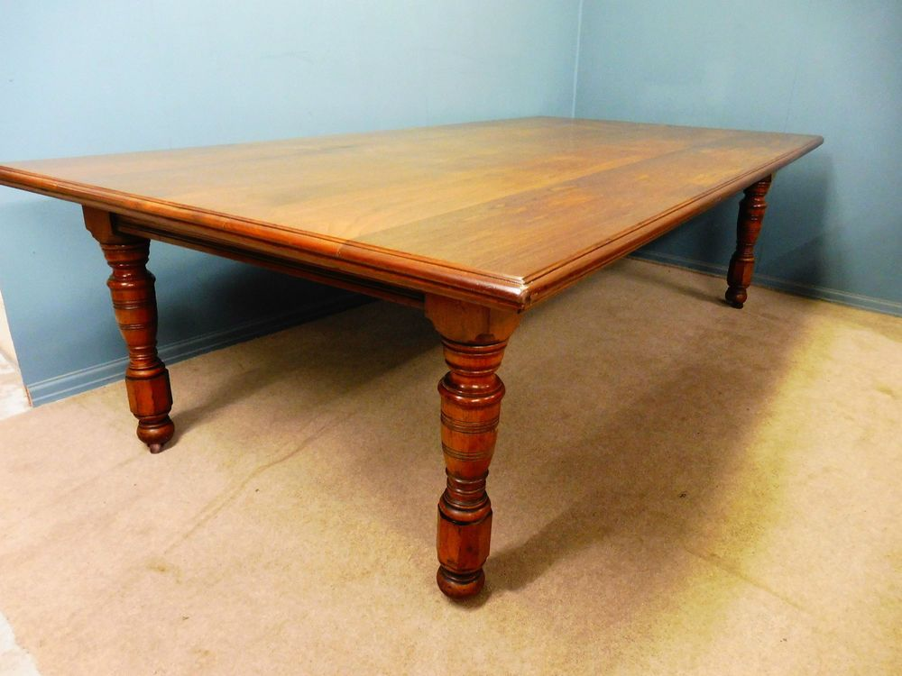 Very Large Antique Walnut Dining Table Circa 1890 1900 3tg