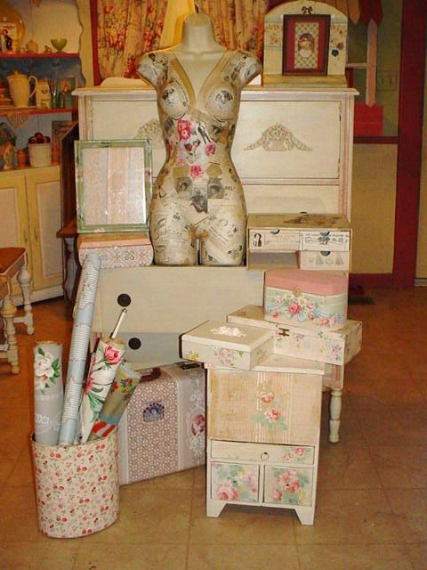 Vintage Wallpaper Covered Trash Can Waste by SimplyCottageChic, $40.00